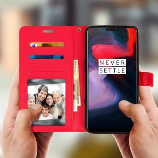 Flip Cover Stand Case Brieftasche & Standfunktion für Oneplus 6 - Rot - Vorschau 2