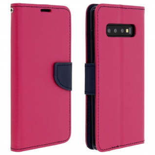 Fancy Style Cover Galaxy S10 Plus, Kartenfach und Standfunktion - Fuchsienrot