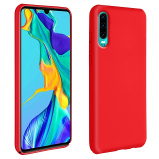 Halbsteife Silikon Handyhülle Huawei P30, Soft Touch - Rot