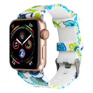 Apple Watch 42 / 44mm Armbanduhr, Silikon Armband mit Blumen ? Weiß/ Grün
