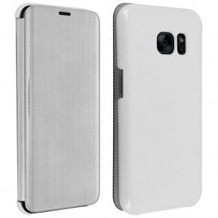 Klapphülle mit Chrom Design für Samsung Galaxy S7 - Silber