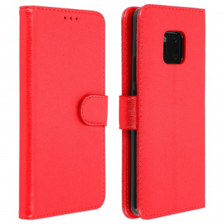 Flip Cover Geldbörse, Klappetui Kunstleder für Huawei Mate 20 Pro - Rot