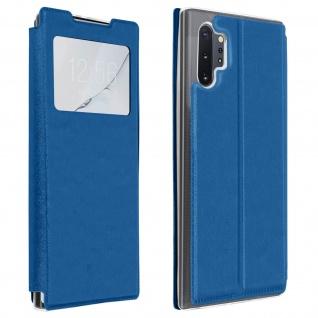 Samsung Galaxy Note 10 Plus Kunstlederetui mit Sichtfenster & Kartenfach � Blau