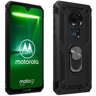 Hybrid Handyhülle mit Ring Halterung für Motorola Moto G7/ G7 Plus - Schwarz