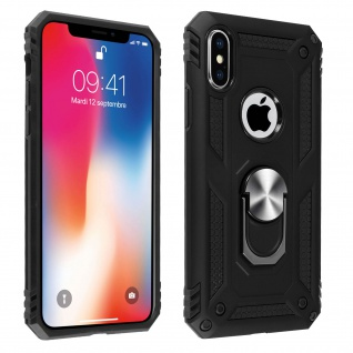 Hybrid Handyhülle mit Ring Halterung für Apple iPhone X, iPhone XS - Schwarz
