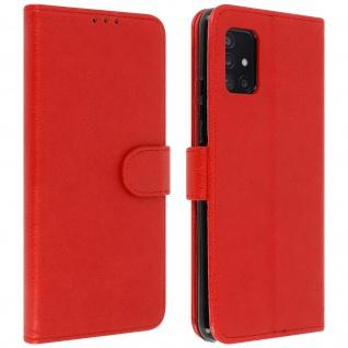 Flip Cover Geldbörse, Etui Kunstleder für Samsung Galaxy A51 5G ? Rot