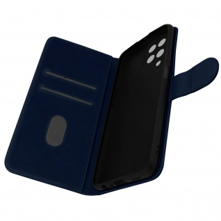 Klappetui mit Geldbörse, Kunstlederhülle für Samsung Galaxy M12 ? Dunkelblau