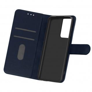 Flip Cover Geldbörse, Etui Kunstleder für Samsung Galaxy S21 Ultra â€? Dunkelblau