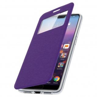 Huawei P20 Flip Cover Sichtfenster & Kartenfach Violett, Silikon - Standfunktion - Vorschau 2