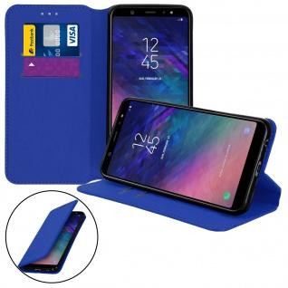 Flip Kunstleder Cover Geldbörse Classic Edition Samsung Galaxy A6 Plus - Blau