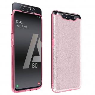 Schutzhülle, Glitter Case für Samsung Galaxy A80, shiny & girly Hülle - Rosa