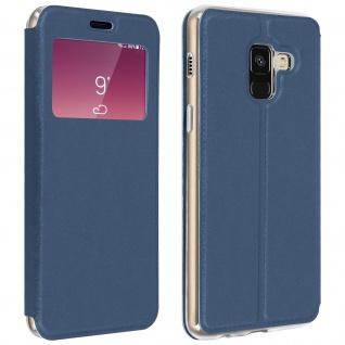 Galaxy A8 Flip Case mit Sichtfenster und Kartenfach Blau - Standfunktion