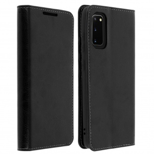 Business Leder Cover, Schutzhülle mit Geldbörse Samsung Galaxy S20 - Schwarz