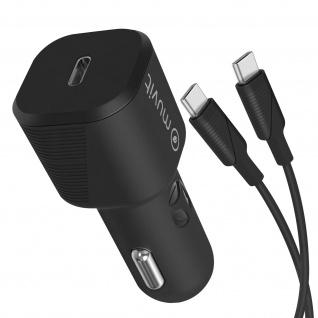 18W USB-C Autoladegerät + USB-C / USB-C Kabel, Muvit - Schwarz