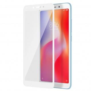 Displayschutzfolie aus gehärtetem Glas für Xiaomi Redmi 6/6A - 3D - Rand Weiß