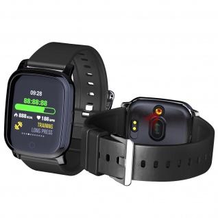 Fitnesstracker, Smartwatch mit Körpertemperaturmessung, Silikonarmband - Schwarz