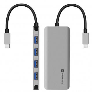 4-in-1 USB-C Hub, Adapter mit 4x USB-C Anschlüssen, Swissten - Grau