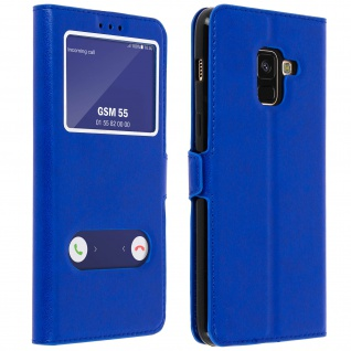 Flip Cover Doppelfenster & Standfunktion, Klappetui Galaxy A8 2018 - Blau