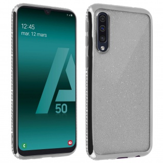 Schutzhülle, Glittery Case für Samsung Galaxy A50, shiny & girly Hülle - Silber