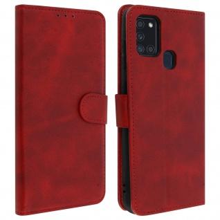 Flip Stand Case Brieftasche & Standfunktion für Samsung Galaxy A21s - Rot