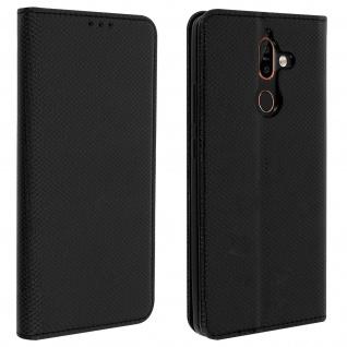Wallet Cover, Klapphülle für Nokia 7 plus, Kartenfach und Ständer ? Schwarz