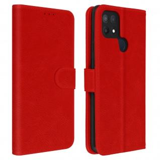 Flip Cover Geldbörse, Etui Kunstleder für Oppo A15 ? Rot