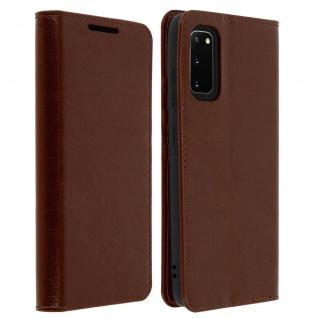Business Leder Cover, Schutzhülle mit Geldbörse Samsung Galaxy S20 - Braun