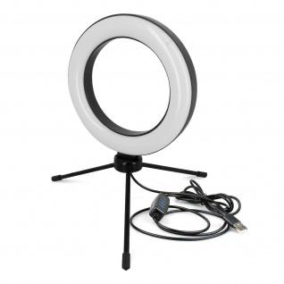 Ring Light, 15.5cm Ringlicht mit Mini-Stativ - Schwarz