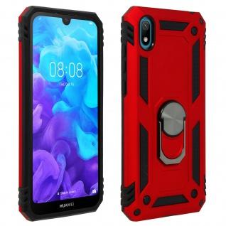 Hybrid Handyhülle mit Ring Halterung für Huawei Y5 2019, Honor 8S - Rot