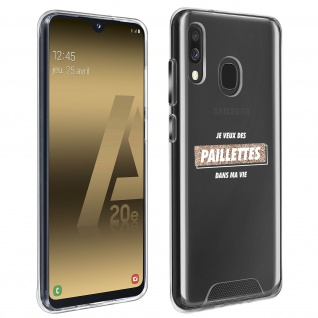 "Handyhülle für Samsung Galaxy A20e, Made in France ? "" Paillettes"" Design"