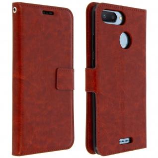 Flip Cover Stand Case Brieftasche & Standfunktion für Xiaomi Redmi 6/6A - Braun
