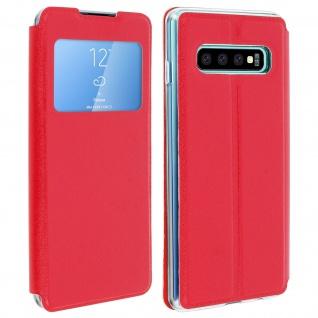 Samsung Galaxy S10 Plus Flip Cover Sichtfenster & Kartenfach - Rot