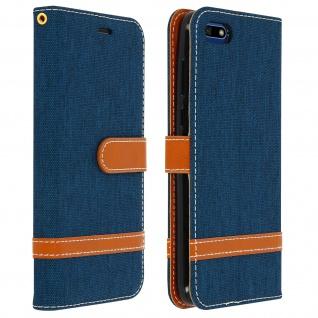 Denim Flip Cover Geldbörse mit Standfunktion, Huawei Y5 2018/Honor 7S - Blau