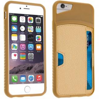 Silikon Schutzhülle mit Kartenfach für Apple iPhone 6 und iPhone 6S - Gold