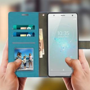 Flip Cover Stand Case Brieftasche & Standfunktion für Sony Xperia XZ2 - Blau - Vorschau 2