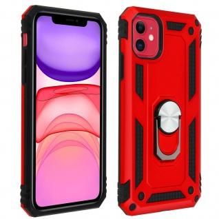 Hybrid Handyhülle mit Ring Halterung für Apple iPhone 11 - Rot