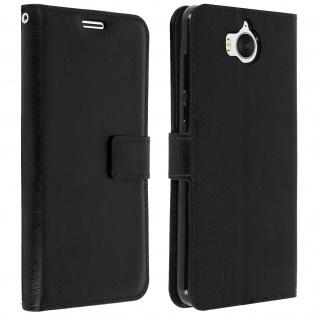 Flip-Cover Stand Case Brieftasche & Standfunktion für Huawei Y6 2017 - Schwarz - Vorschau 2