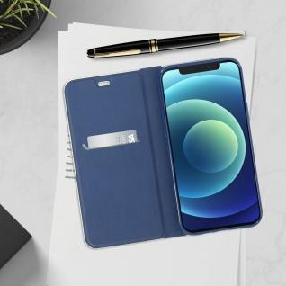 Apple iPhone 12 / 12 Pro Klappetui, Cover mit Carbon Design ? Dunkelblau - Vorschau 4