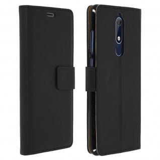 Soft Touch Flip-Cover Geldbörse mit Standfunktion für Nokia 5.1 - Schwarz