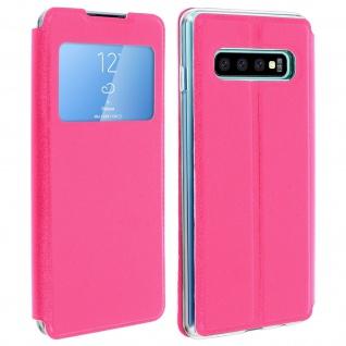 Samsung Galaxy S10 Flip Cover Sichtfenster & Kartenfach - Fuchsienrot