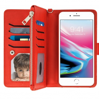 Apple iPhone 6 Plus/6S Plus/7 Plus/8 Plus Klappetui mit abnehmbarer Hülle - Rot