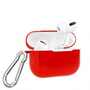 Apple Airpods Pro Metallic Schutzhülle + abnehmbarer Karabinerhaken - Rot