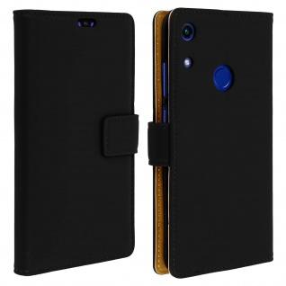 Soft Touch Flip-Cover Geldbörse mit Standfunktion für Honor 8A - Schwarz