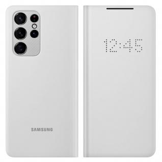 Original Samsung LED-View Cover + Kartenfach für Galaxy S21 Ultra â€? Hellgrau