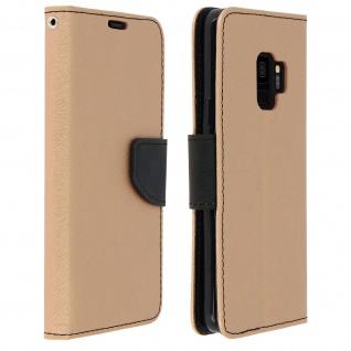 Fancy Style Flip-Cover, Klappetui für Samsung Galaxy S9+ Schlaufe - Schwarz/Gold