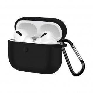 Apple AirPods Pro weiche Silikon Schutzhülle mit Karabinerhaken - Schwarz