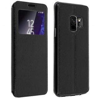 Galaxy S9 Flip Case mit Sichtfenster und Kartenfach Schwarz - Standfunktion