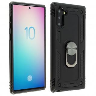 Hybrid Handyhülle mit Ring Halterung für Samsung Galaxy Note 10 - Schwarz