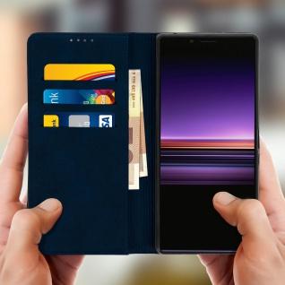 Flip Cover Geldbörse, Kunstleder Klappetui für Sony Xperia 1 - Dunkeblau - Vorschau 3