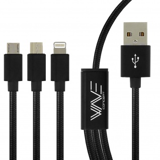 USB-Ladekabel 3x Ports: iPhone/iPad/Micro-USB/USB-C Aufladen & Synchronisieren